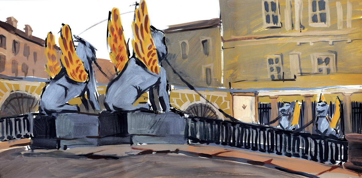 bank bridge, 80kh60, papper, gouache, 2002