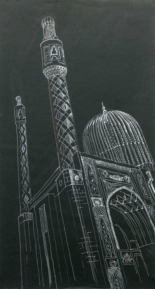 Mosque on Petrogradka. 45x90, black paper, Gel white ruchka.2005
