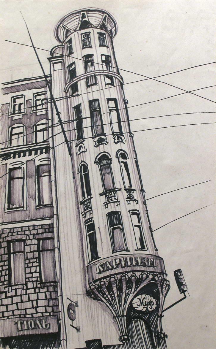 Petrogradka. 50x90, Kraft marker.2005