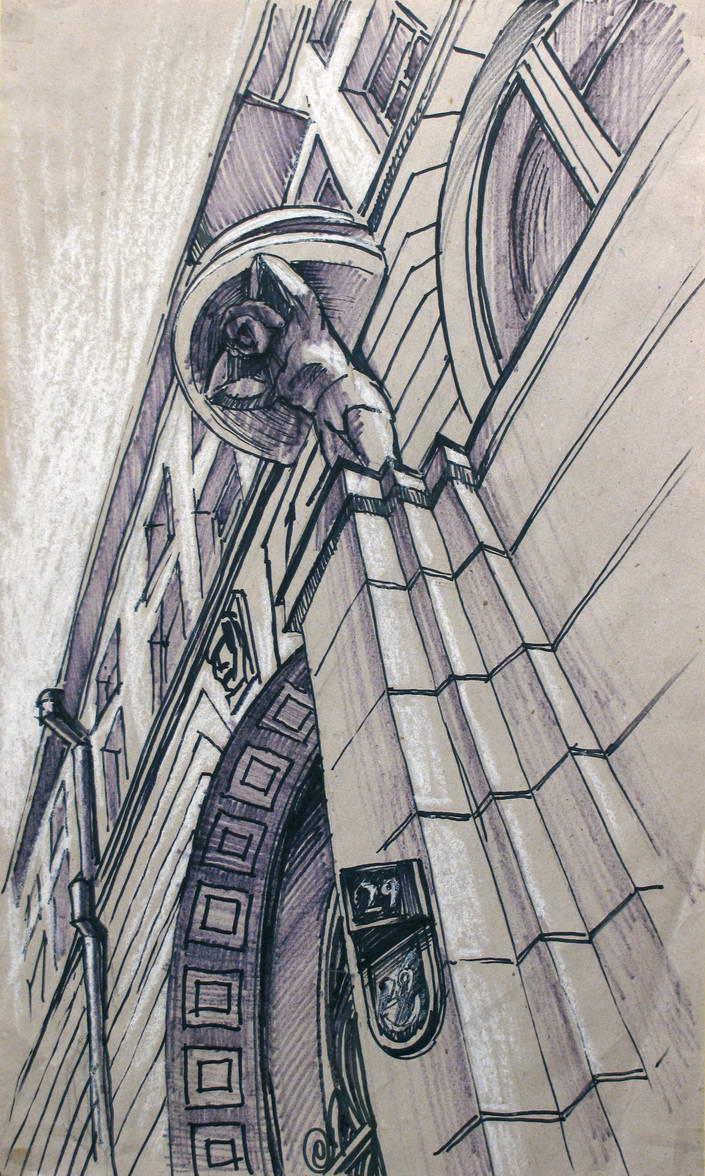 Каменноостровский проспект. 50х90, крафт-маркер, пастель. 2005