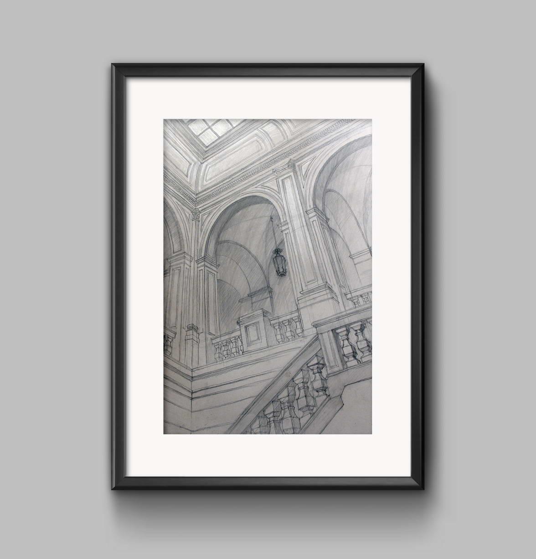 Актовый зал академии художеств имени Штиглица. 110х70, mbao, карандаш, пастель. 2006