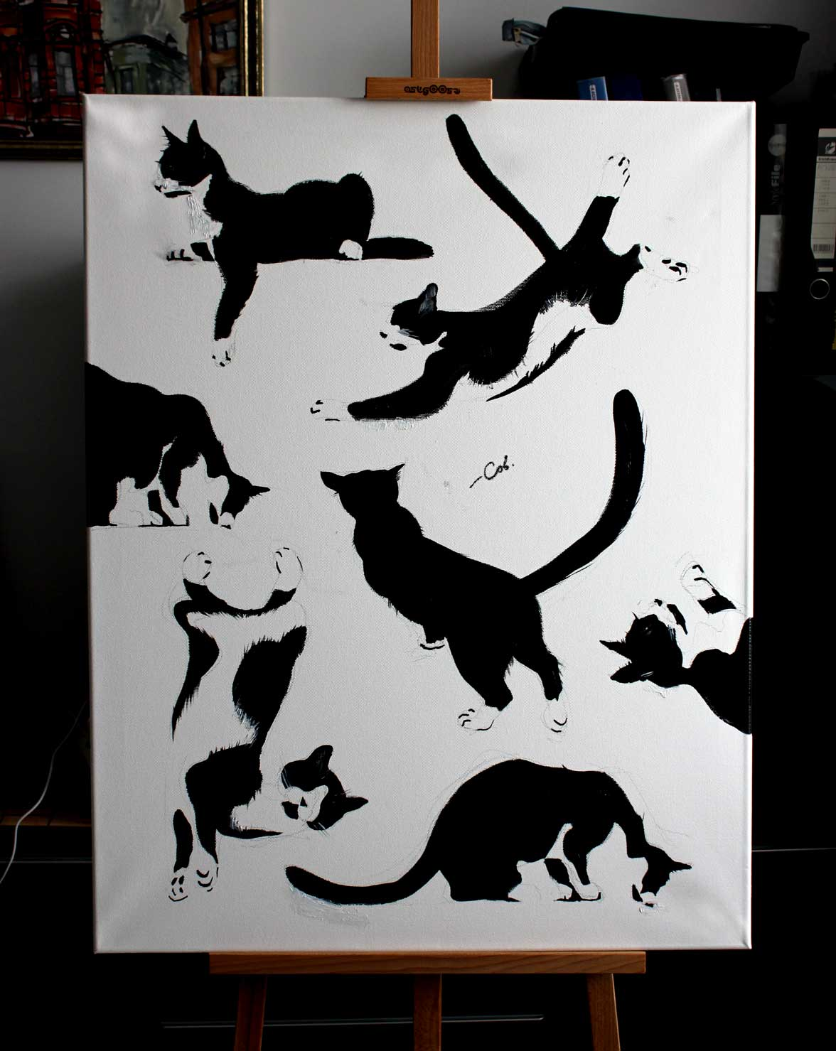 Kosatiki. картина маслом, кот, mushuk, коты, Mushuklar
