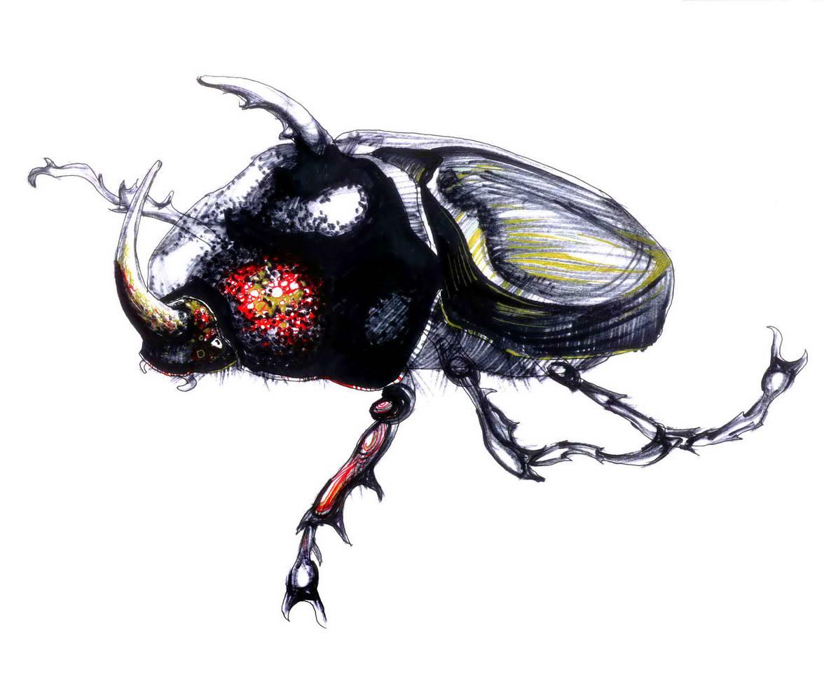 Рисунок жука Носорога. 30х20, páipéar, маркер, гелиевые ручки. 2001