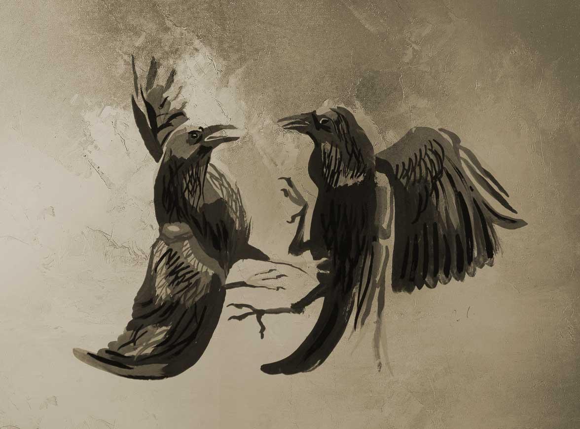 вороны гуашь