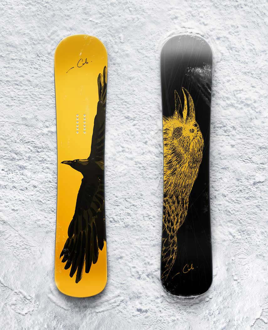 Raven on a snowboard painting Design