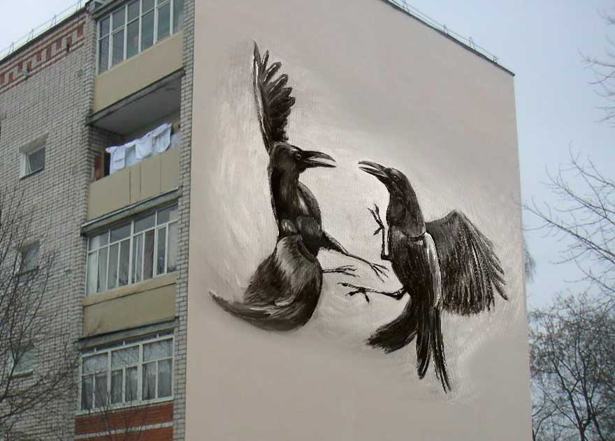 uy Crow Street Art graffiti